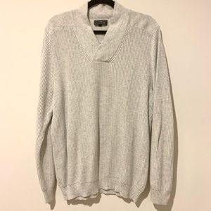 Express Sweaters - EXPRESS V-neck Knit Sweater in Light Gray